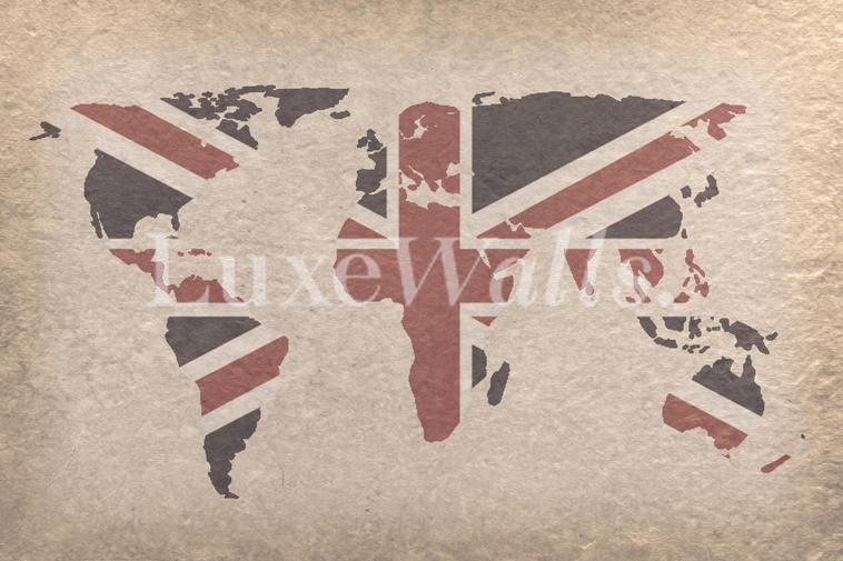 Map wallpaper removable and reusable shop now world map with uk flag wallpaper gumiabroncs Gallery
