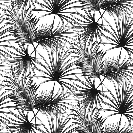 Greyscale Palm Leaves Wallpaper