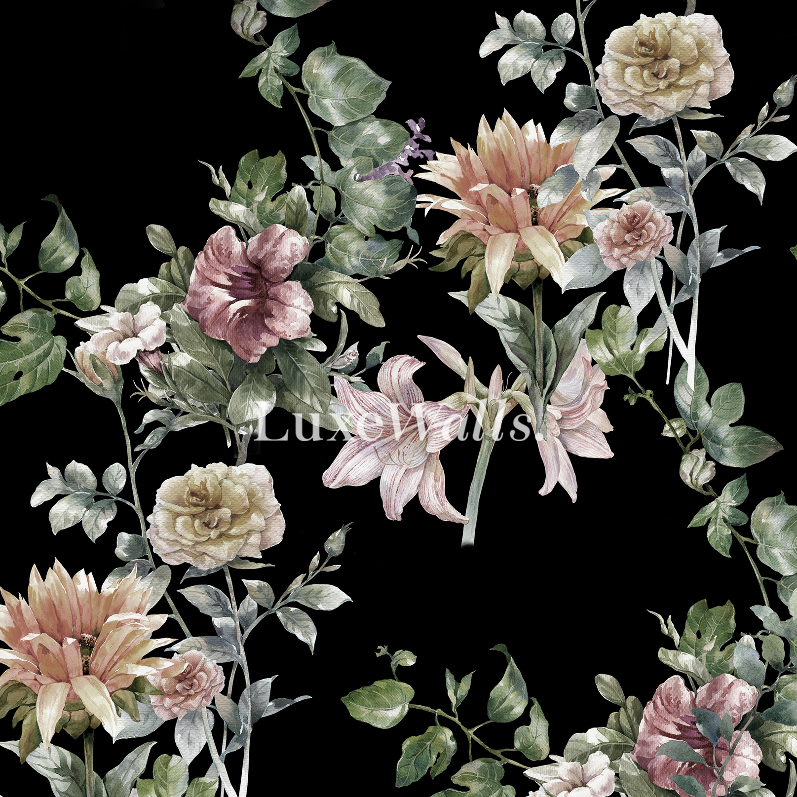 floral wallpaper - removable and reusable wallpaper - shop now!