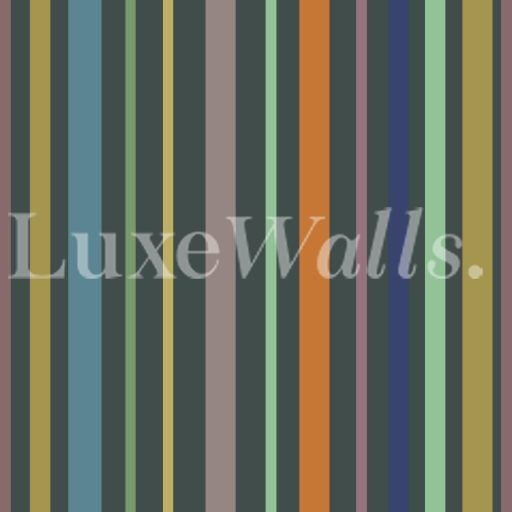 Muted Colour Stripe Wallpaper