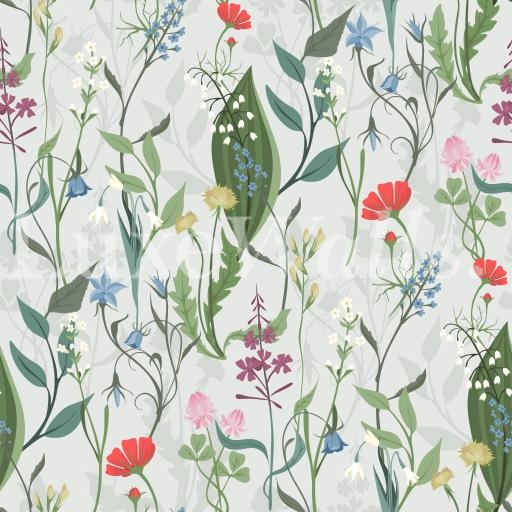 Wild Herbs And Flowers Floral Wallpaper