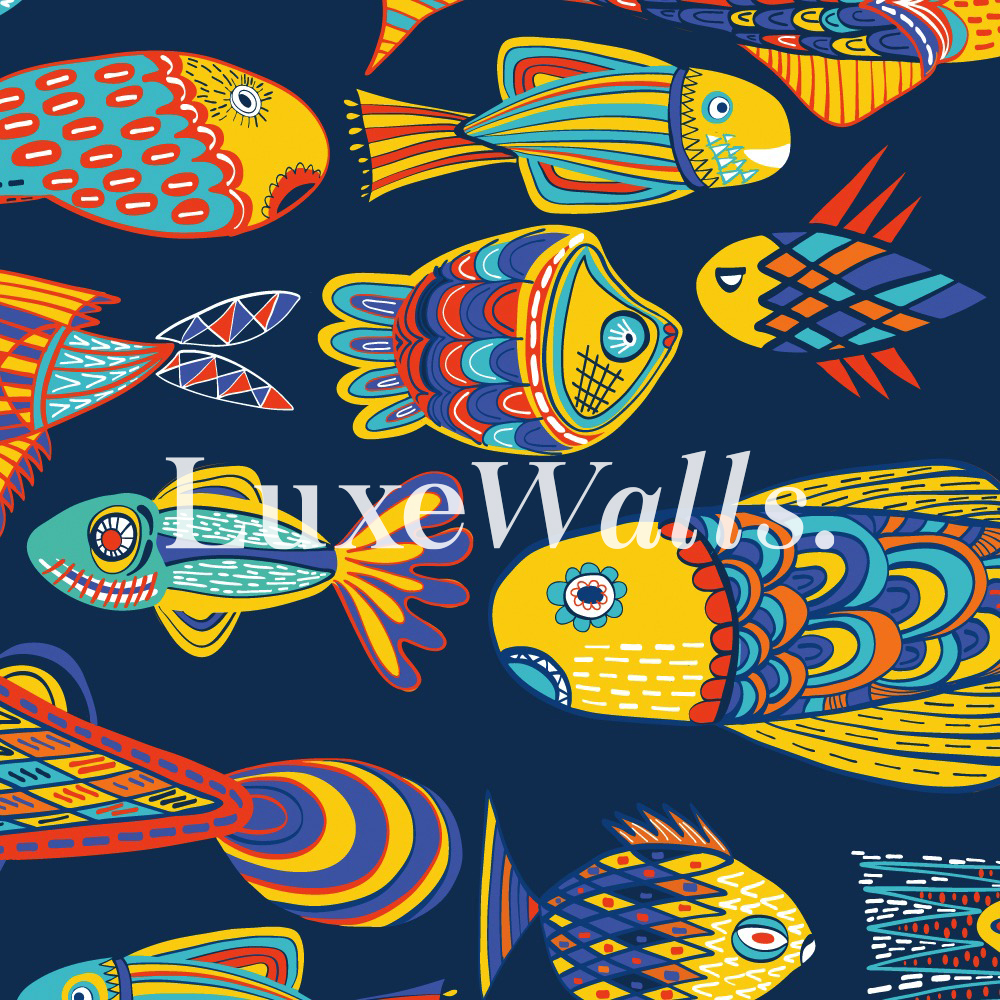 Little Fish Wallpaper - Blue   Luxe Walls - Removable